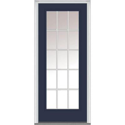 36 in. x 80 in. Classic Clear Glass GBG Low-E Full Lite Painted Fiberglass Smooth Prehung Front Door
