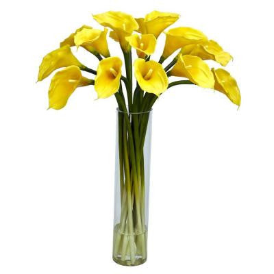 27 in. H Yellow Calla Lilly with Cylinder Silk Flower Arrangement