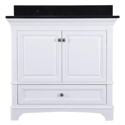 Moorpark 37 in. Vanity in White with Granite Vanity Top in Black