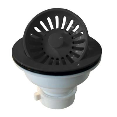 3-1/4 in. Push/Pull Basket Strainer in Black