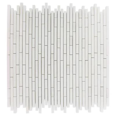 Windsor 1/4 in. x Random White Thassos Pattern Marble 12 in. x 12 in. x 8 mm Mosaic Floor and Wall Tile