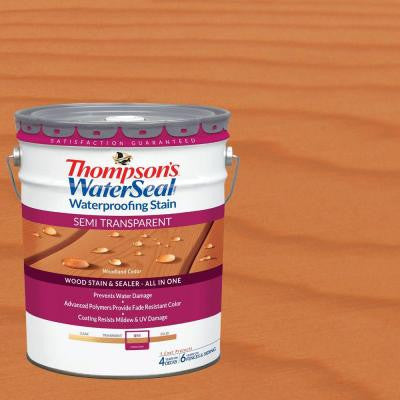 5 gal. Semi-Transparent Woodland Cedar Waterproofing Stain