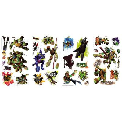 10 in. x 18 in. Teenage Mutant Ninja Turtles 30-Piece Peel and Stick Wall Decals