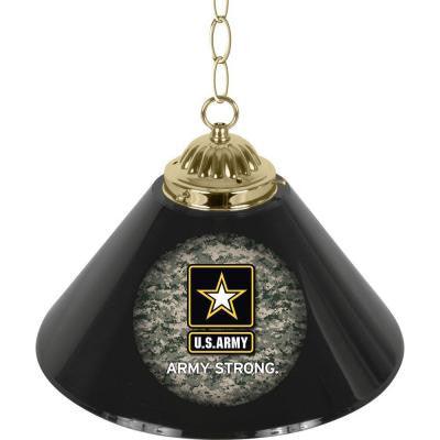 United States Army Camo 14 in. Single Shade Stainless Steel Hanging Lamp