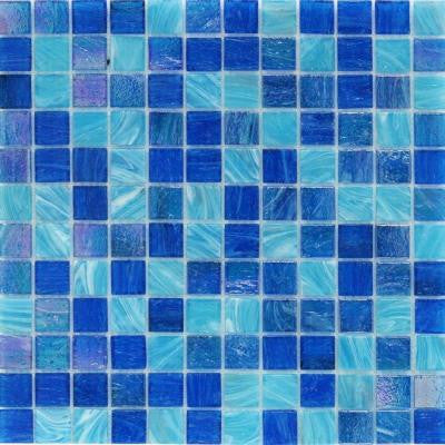 Aqua Blue Ocean Mesh-Mounted Squares 11-3/4 in. x 12 in. x 5 mm Glass Mosaic Tile