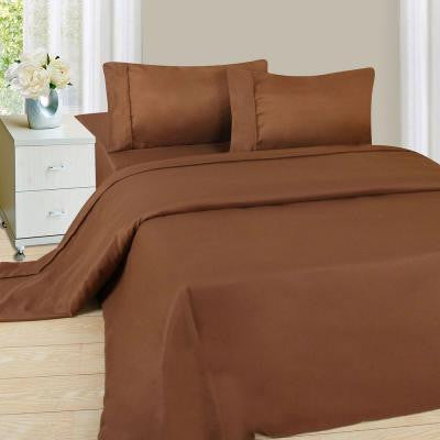 1200 Series Chocolate 75 gsm King Microfiber Sheet Set (4-Piece)