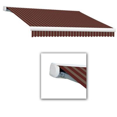 12 ft. Key West Full-Cassette Left Motor Retractable Awning with Remote (120 in. Projection) in Burgundy/Tan