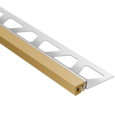 Dilex-KSA Stainless Steel with Light Beige Insert 17/32 in. x 8 ft. 2-1/2 in. Metal Movement Joint Tile Edging Trim