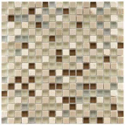 Tessera Mini York 11-3/4 in. x 11-3/4 in. x 8 mm Stone and Glass Mosaic Wall Tile