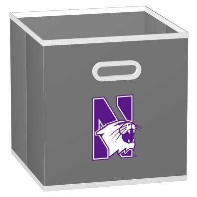 College STOREITS Northwestern University 10-1/2 in. W x 10-1/2 in. H x 11 in. D Grey Fabric Storage Bin