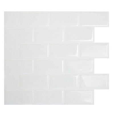 9.75 in. x 10.96 in. Mosaic Decorative Wall Tile Peel and Stick in Subway White