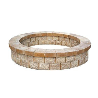 81 in. Round Fire Pit Kit in River Rock