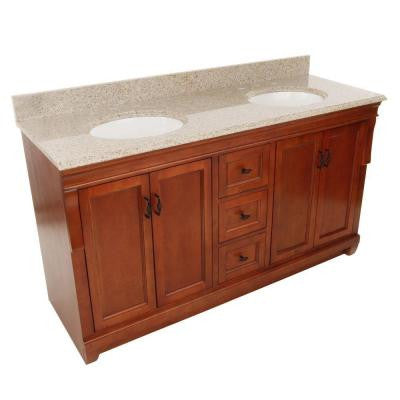 Naples 61 in. W x 22 in. D Vanity in Warm Cinnamon with Granite Vanity Top in Beige with Double Bowls in White