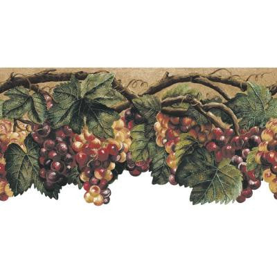 10.25 in. x 15 ft. Green Die Cut Fruit Border