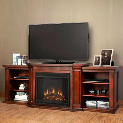 Valmont 76 in. Media Console Electric Fireplace in Dark Mahogany