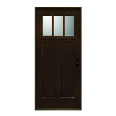 36 in. x 80 in. Craftsman Collection 3 Lite Prefinished Antique Mahogany Type Solid Wood Prehung Front Door
