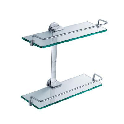13.75 in. W 2-Tier Bathroom Glass Shelf in Chrome