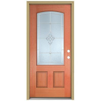36 in. x 80 in. Rosemont Camber Top 3/4 Lite Unfinished Mahogany Prehung Front Door with Brickmould and Zinc Caming