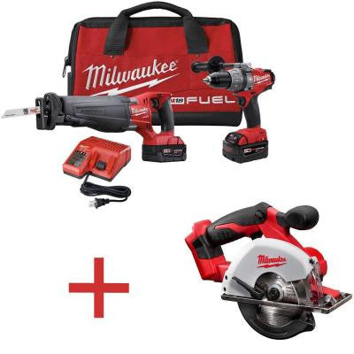 M18 FUEL 18-Volt Brushless Hammer Drill/SAWZALL Reciprocating Saw XC Combo Kit with Free M18 5-3/8 in. Metal Saw