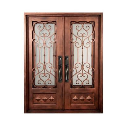 62 in. x 97.5 in. Vita Francese Classic 3/4 Lite Painted Oil Rubbed Bronze Wrought Iron Prehung Front Door