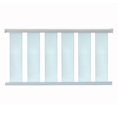 6 ft. x 42 in. White Aluminum Frame Glass Baluster Railing Kit