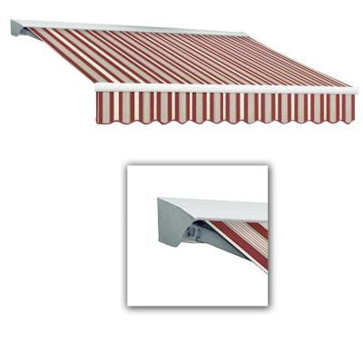14 ft. LX-Destin with Hood Left Motor/Remote Retractable Acrylic Awning (120 in. Projection) in Burgundy/Gray/White