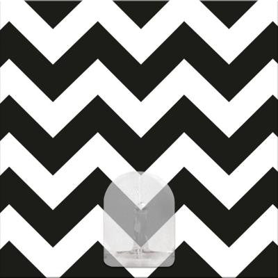2.875 in. Black and White Chevron Magic Hook Wall Graphic