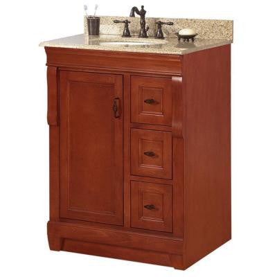 Naples 25 in. W x 22 in. D x 34 in. H Vanity in Warm Cinnamon with Granite Vanity Top in Beige and Single Bowl in White