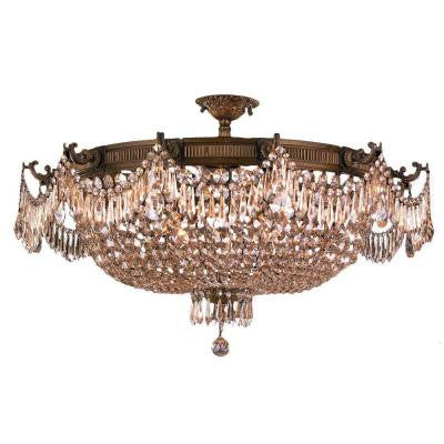 Winchester 12-Light Antique Bronze and Golden Teak Crystal Semi-Flush Mount Light