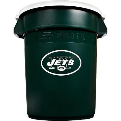 BRUTE NFL 32 Gal. New York Jets Round Trash Can with Lid