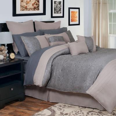 Leah Gray 14-Piece King Embroidered Comforter Set