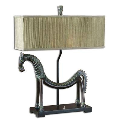 30 in. Tamil Horse Bronze Table Lamp