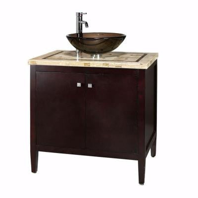 Argonne 31 in. W x 22 in. D Vanity in Espresso with Marble Vanity Top in Brown with Basin