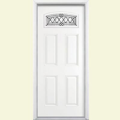 36 in. x 80 in. Halifax Camber Fanlite Painted Smooth Fiberglass Prehung Front Door with Brickmold
