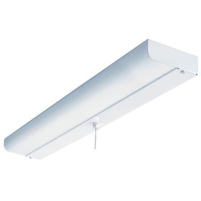 1-Light White Fluorescent Ceiling Flushmount
