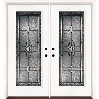66 in. x 81.625 in. Sapphire Patina Full Lite Unfinished Smooth Fiberglass Double Prehung Front Door