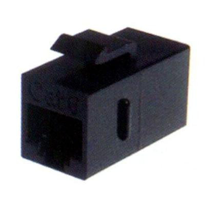 Cat6 F/F Feed-Through Black Snap-In Keystone Coupler Jack