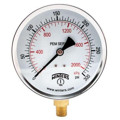 PEM Series 4 in. Black Steel Case Brass Internals Pressure Gauge with 1/4 in. NPT LM and Range of 0-300 psi/kPa