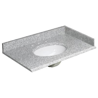 37 in. W Granite Vanity Top in Rushmore Grey and Basin in White with Backsplash and Optional Sidesplash