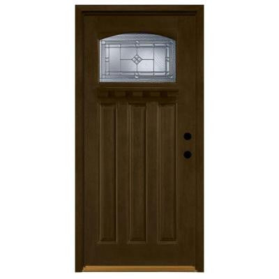 36 in. x 80 in. Allentown Top Lite Stained Mahogany Wood Left-Hand Prehung Front Door w/ 4 in. Wall & Prefinished Frame