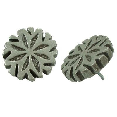 Contempo Spindel Pewter 1-1/5 in. x 1-1/5 in. Mosaic Medallion Pin Insert Wall Tile (4-Pack)