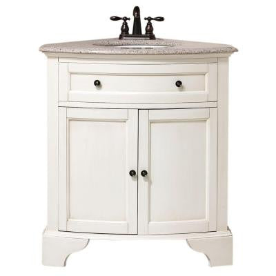 Hamilton 31 in. W x 23 in. D Corner Vanity in White with Granite Vanity Top in Grey