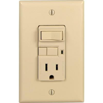 ASPIRE 15-Amp Combination Ground Fault Circuit Interrupter with 20-Amp Feed-Through Single-Pole Rocker Switch - Ivory