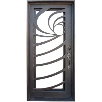 36 in. x 78 in. Contemporary Full Lite Dark Bronze Wrought Iron Prehung Front Door
