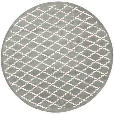 Chatham Dark Grey/Ivory 7 ft. Round Area Rug
