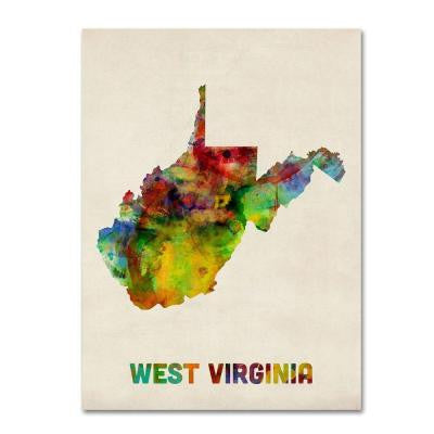 14 in. x 19 in. West Virginia Map Canvas Art