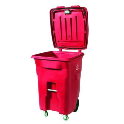 64 Gal. Red Wheeled Regulated Medical Waste Trash Can with Casters