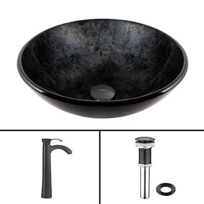Glass Vessel Sink in Gray Onyx with Otis Faucet Set in Matte Black