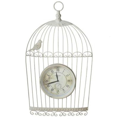 Sundry 25.25 in. x 14.75 in. Distressed Ivory Bird Cage Wall Clock