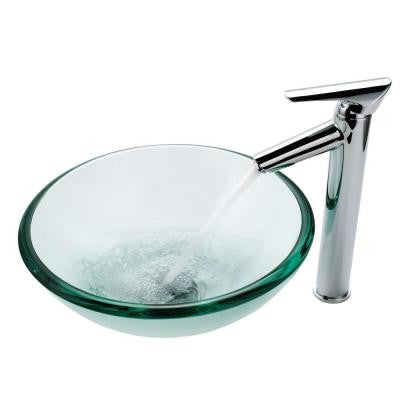 Vessel Sink in Clear Glass with Decus Faucet in Chrome